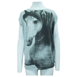 Stella Mc Cartney-Grey Top with Horse Print-Grey