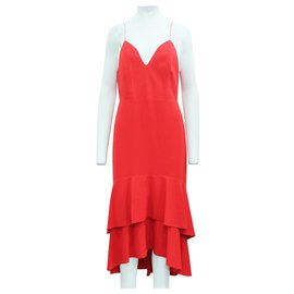 Alice + Olivia-Red Long Dress with Spaghetti Shoulder Straps-Red