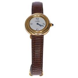 Cartier-Charmante montre bracelet dame Cartier Trinity en vermeil-Marron