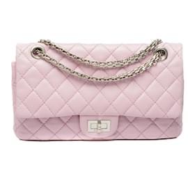 Chanel-Esplêndida bolsa Chanel 2.55 em couro acolchoado rosa velho, Garniture en métal argenté-Rosa