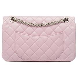 Chanel-Wunderschöne Chanel-Tasche 2.55 aus altem rosa gestepptem Leder, Garniture en métal argenté-Pink