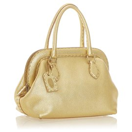 Fendi-Fendi Gold Selleria Leather Handbag-Golden