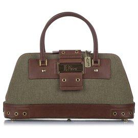 Dior-Dior Green Street Chic Canvas Handbag-Brown,Green,Dark green