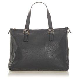 Fendi-Fendi Black Leather Handbag-Black