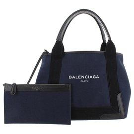 Balenciaga-Balenciaga Blue Navy Cabas S Canvas Tote Bag-Black,Blue,Navy blue