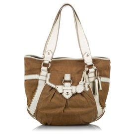 Céline-Celine Brown Canvas Tote Bag-Brown,White