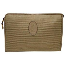 Yves Saint Laurent-YSL Brown Canvas Clutch Bag-Brown,Beige