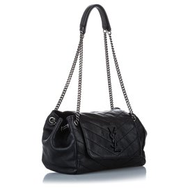Yves Saint Laurent-YSL Black Nolita Leather Shoulder Bag-Black,Silvery