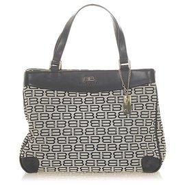 Balenciaga-Balenciaga Gray BB Monogram Canvas Tote Bag-Black,Grey
