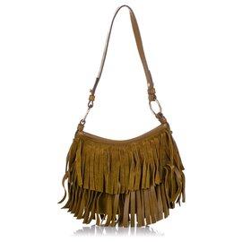 Yves Saint Laurent-YSL Brown Boheme Suede Shoulder Bag-Brown