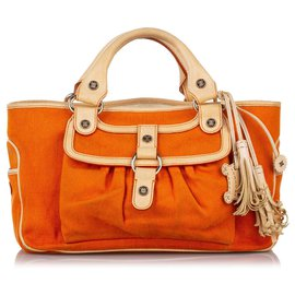 Céline-Celine Orange Boogie Canvas Handbag-White,Orange