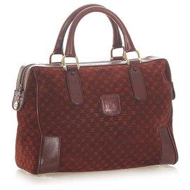 Céline-Celine Red Macadam Suede Boston Bag-Red,Dark red