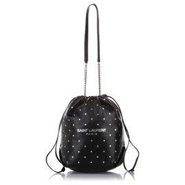 Yves Saint Laurent-YSL Black Teddy Leather Bucket Bag-Black,White