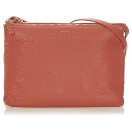 Céline-Celine Red Large Trio Leather Crossbody Bag-Red