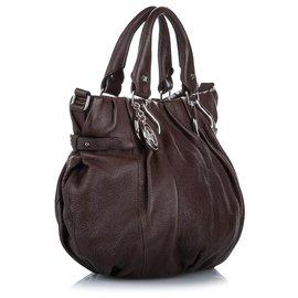 Céline-Celine Brown Leather Satchel-Brown,Dark brown
