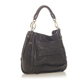 Dior-Dior Black Leather Shoulder Bag-Black