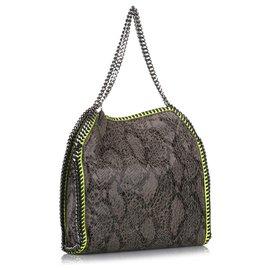 Stella Mc Cartney-Stella McCartney Gray Falabella Fold-Over Tote Bag-Grey,Yellow