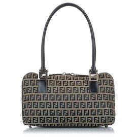 Fendi-Fendi Gray Zucchino Canvas Handbag-Blue,Grey,Navy blue