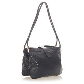 Yves Saint Laurent-YSL Black Leather Shoulder Bag-Black