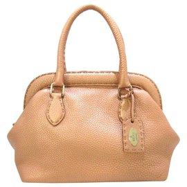 Fendi-Fendi Brown Selleria Leather Handbag-Brown,Bronze