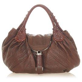 Fendi-Fendi Brown Spy Leather Handbag-Brown,Dark brown