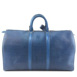 Louis Vuitton-Louis Vuitton Keepall 45 Cuir épi bleu-Bleu
