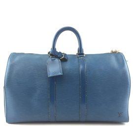 Louis Vuitton-Louis Vuitton Keepall 50 Cuir épi bleu-Bleu