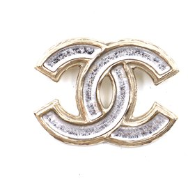 Chanel-Chanel Gold Clear CC Resin Hardware Brooch-Golden