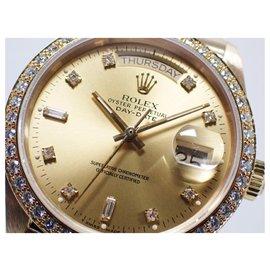 Rolex-ROLEX DAY DATE bezel diamond 8P Diamond2 Baguette diamond champagne Dial 18KYG Mens-Golden