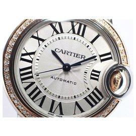 Cartier-CARTIER Ballon Bleu de 33 MM lunette diamant 18KPG & SS Femmes-Bleu