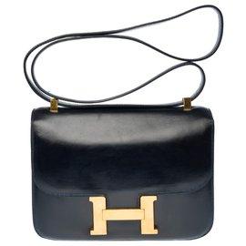 Hermès-Splendid Hermes Constance handbag 23 cm vintage in navy blue box, garniture en métal doré-Blue