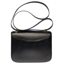 Hermès-Splendid Hermes Constance handbag 23 cm vintage in black box, garniture en métal doré-Black