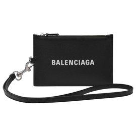 Balenciaga-Cash Passport and Phone Holder in Black Grained Calfskin-Black