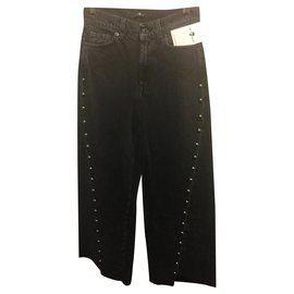 7 For All Mankind-Marnie Ousider Culotte Jeans with studs-Black