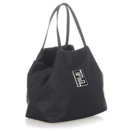 Fendi-Fendi Black Nylon Tote Bag-Black