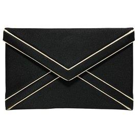Yves Saint Laurent-YSL Black Envelope Leather Clutch Bag-Black,White