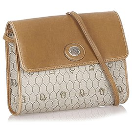 Dior-Dior Brown Honeycomb Coated Canvas Chain Crossbody Bag-Brown,Beige,Light brown