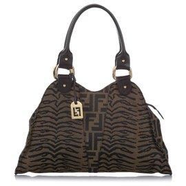 Fendi-Fendi Brown Zucca Zebra Print Canvas Handbag-Brown,Dark brown