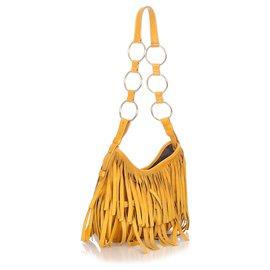 Yves Saint Laurent-YSL Yellow Suede Boheme Hobo Bag-Yellow