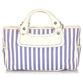 Céline-Celine White Boogie Canvas Handbag-White,Blue