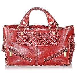 Céline-Celine Red Boogie Leather Handbag-Red