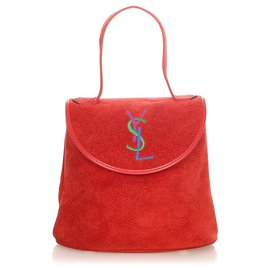 Yves Saint Laurent-YSL Red Suede Handbag-Red,Multiple colors