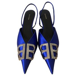Balenciaga-Balenciaga lined B blue satin pumps-Blue