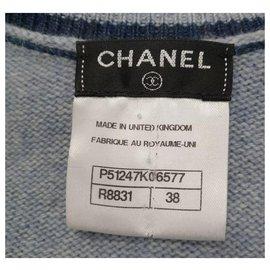 Chanel-Chanel Blue Cashmere Striped Sweater Sz 38-Multiple colors