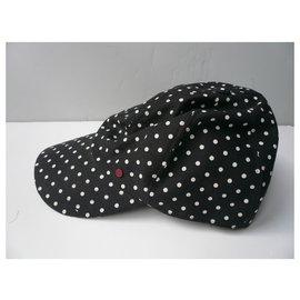 Maison Michel-MAISON MICHEL New black cap with white polka dots cotton TL-Black