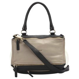 Givenchy-Givenchy Brown Pandora Leather Satchel-Brown,Black,Beige
