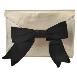 Yves Saint Laurent-YSL Gold Leather Clutch Bag-Black,Golden