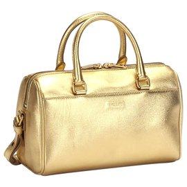 Yves Saint Laurent-YSL Gold Classic Baby Duffle Leather Satchel-Golden