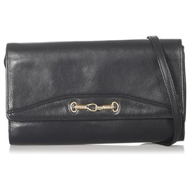 Céline-Celine Black Leather Crossbody Bag-Black