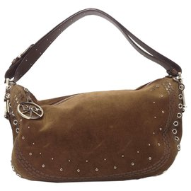 Dior-Dior Brown Peace and Love Leather Shoulder Bag-Brown